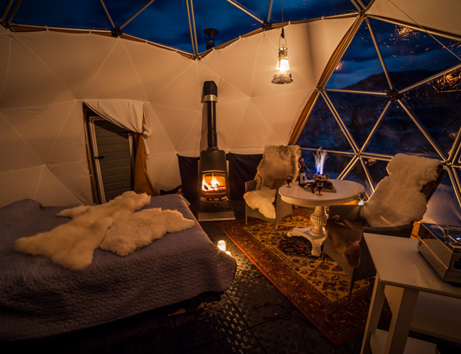 Winterse interieur in de tent